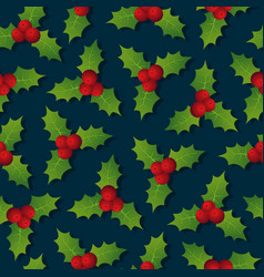 Hollyberry christmas seamless pattern festive vector