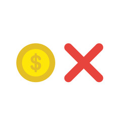 icon concept of dollar coin with x mark vector image