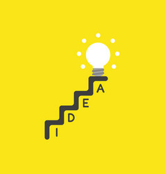 Icon concept of glowing light bulb on top of idea vector
