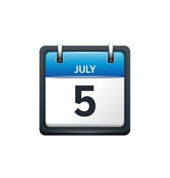 July 5 Calendar icon flat vector