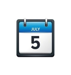 July 5 calendar icon flat vector