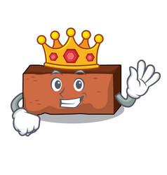King brick mascot cartoon style vector