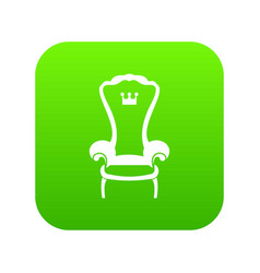 king throne chair icon digital green vector image