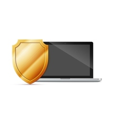 Laptop with shield - internet security antivirus vector