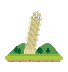 Leaning tower of pisa with mountains and trees vector