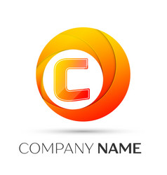 Letter c logo symbol in the colorful circle on vector