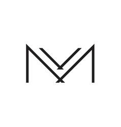 letter mv simple thin line linked logo vector image