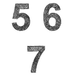 Line art font set - numbers 5 6 7 vector