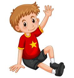 little boy waving hand hello vector image