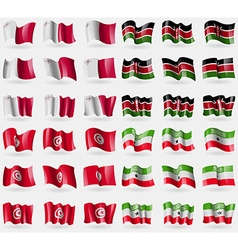 Malta Kenya Tunisia Somaliland Set of 36 flags of vector