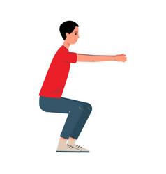Man character doing squats sport exercises flat vector