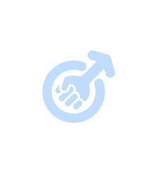 masculism symbol blue male fist color with arrow vector image
