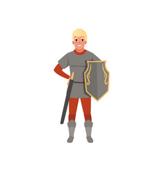 Medieval warrior character with shield and sword vector