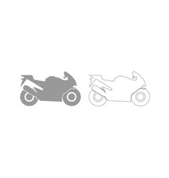 Motorcycle grey set icon vector