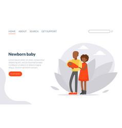newborn balanding page template happy family vector image