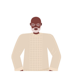 Old african american man in casual trendy clothes vector