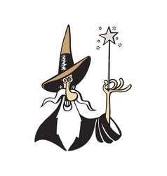 Old witch magician cartoon vector