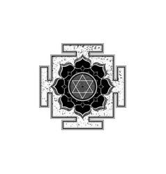 Old yantra design tibetan mandala lotus flower vector