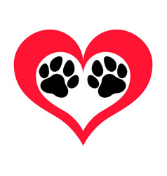 Pawprints heart vector