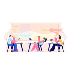 people visiting cafe and hospitality concept vector image