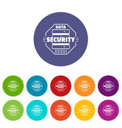 personal data security icons set color vector image