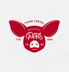Pork logo label print poster for butcher shop vector