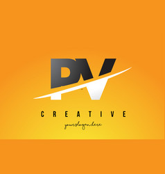 pv p v letter modern logo design with yellow vector image