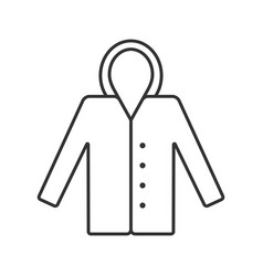 Raincoat linear icon hoody autumn outerwear vector
