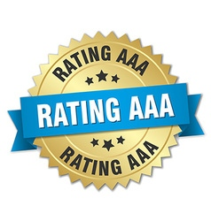 Rating aaa 3d gold badge with blue ribbon vector