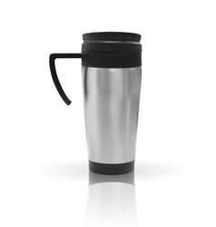 Realistic 3d model of thermos cup vector