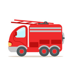 Red fire truck fire emergency colorful cartoon vector