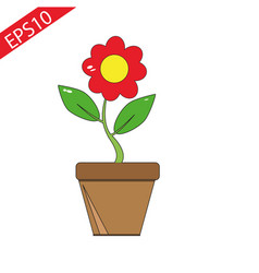 red flower in the pot vector image