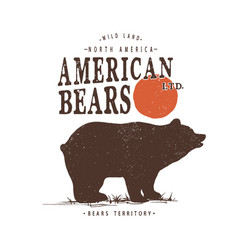 retro label with bear vector image