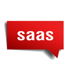Saas red 3d speech bubble vector