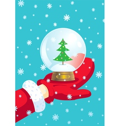 Santa claus and snow ball vector