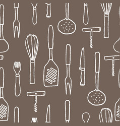 seamless pattern of kitchenware white hand drawn vector image
