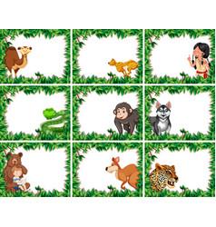 set of animal on nature border vector image