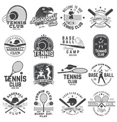 set of baseball and tennis club badge vector image