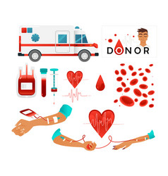 set of blood donor images with blood donation vector image