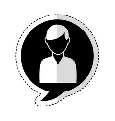 speech bubble with man avatar character icon vector image