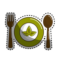 Sticker spoon fork and plate with leaves vector