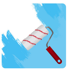 striped roll paints wall in light blue color vector image