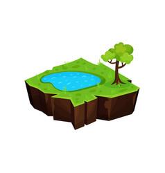 summer natural landscape with pond fantastic vector image