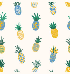 summer seamless pattern with pineapples of vector image