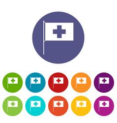 switzerland flag set icons vector image