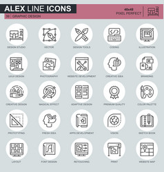 thin line web and graphic design icons set vector image
