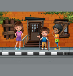Three kids hanging out on the street vector
