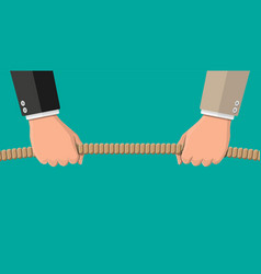 tug war two businessmen pulling rope vector image