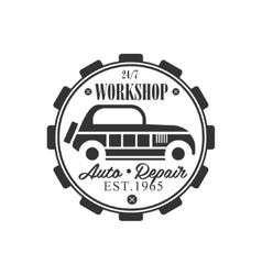 Vintage Car Repair Workshop Black And White Label vector