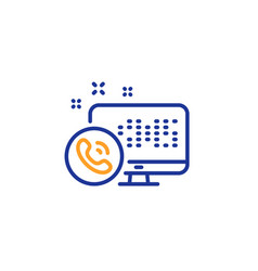Web call center service line icon phone support vector